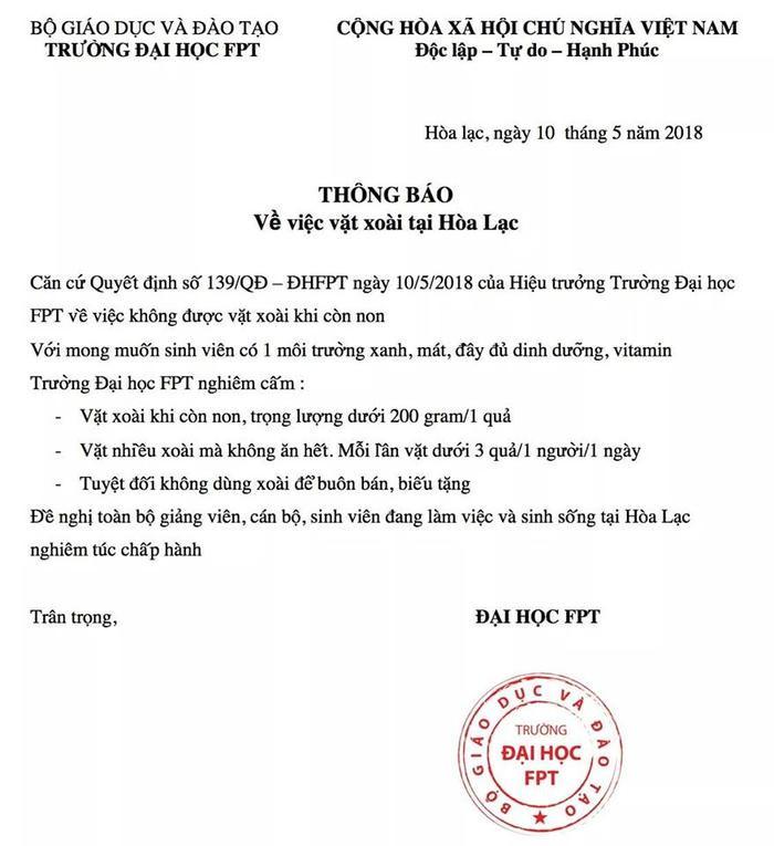 """Công văn """"khẩn cấp"""" của Đại học FPT Hòa Lạc nhằm ngăn việc sinh viên vặt trộm xoài."""