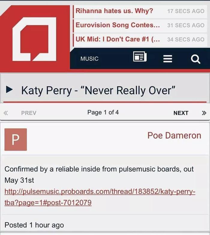 Katy Perry chuẩn bị phát hành bài hát mới – Thông tin được một trang nhạc lớn xác nhận.