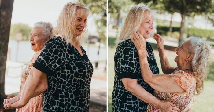 Cụ bà Elizabeth Pullen, 90 tuổi trong cuộc hội ngộ đẫm nước mắt với con gái mình.