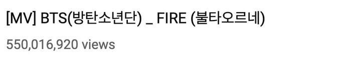 MV Fire của BTS cán mốc 550 triệu view trên Youtube.