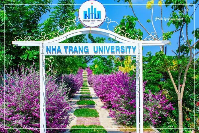 """Chiếc cổng nhỏ mang tên Đại học Nha Trang dẫn vào """"con đường màu tím"""" thơ mộng."""