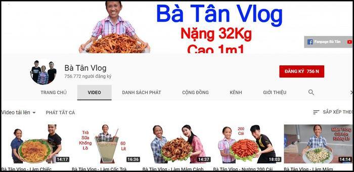 Kênh Vlog của bà Tân.