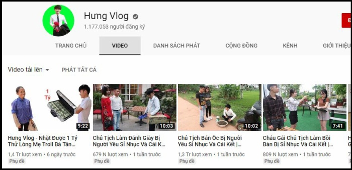 Kênh Youtube của Hưng Vlog.