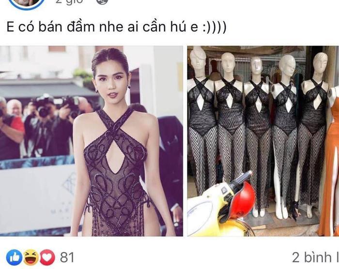 Chiếc váy hở 90% da thịt của Ngọc Trinh tiếp tục gây bão khi xuất hiện ở các cửa hàng thời trang bình dân.
