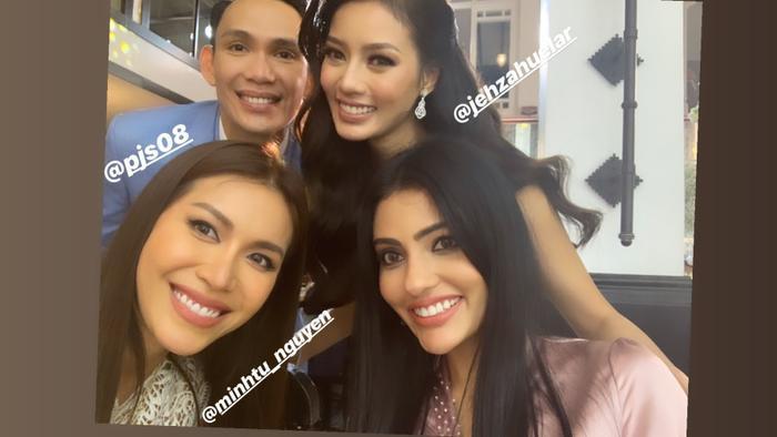 Minh Tú cùng vợ chồng Jehza Huelar và hoa hậu Malaysia –Sanjna Suri sau lễ cưới.