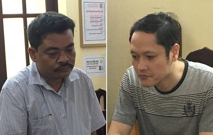 Ông Nguyễn Thanh Hoài (trái) và Vũ Trọng Lương, hai bị can trong vụ gian lận điểm thi tại tỉnh Hà Giang. Ảnh: VTC News.