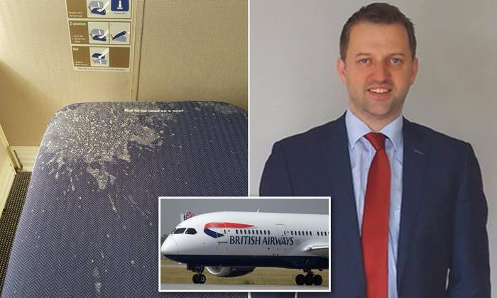 Hành kháchDave Gildea có trải nghiệm khó chịu khi ở trên chuyến bay của hãng British Airways. Ảnh: Mirror