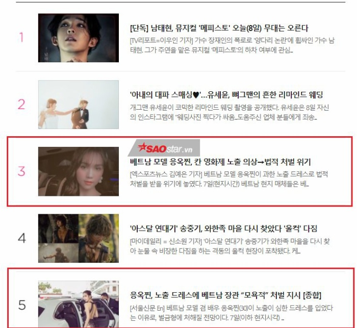 Đứng hạng 3 và 5 trong những bào viết được xem nhiều nhất ở Naver.