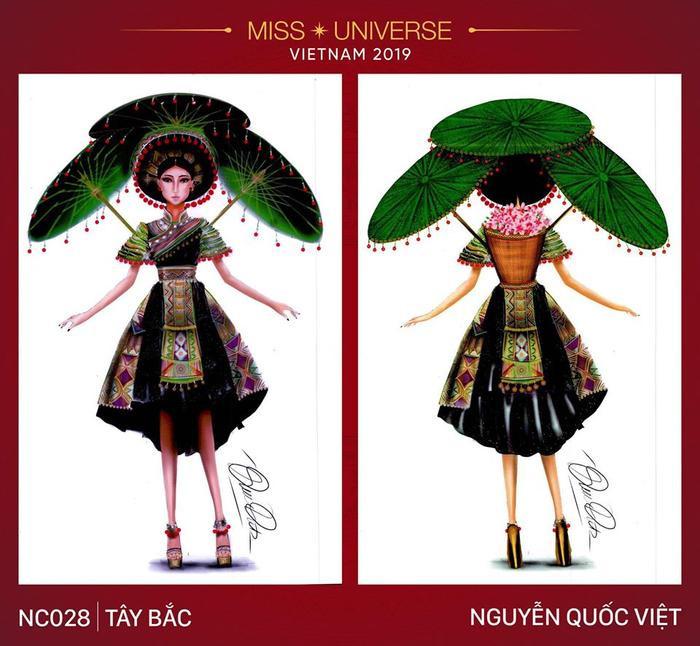 """Ngoài """"Sắc Cò"""", bộ trang phục dân tộc tiếp theo cũng bị cho là sao chép ý tưởng là """"Tây Bắc"""". Thiết kế bị so sánh với bộ trang phục """"Sơn nữ H'Mông"""" của Hoa hậu Diệu Linh."""
