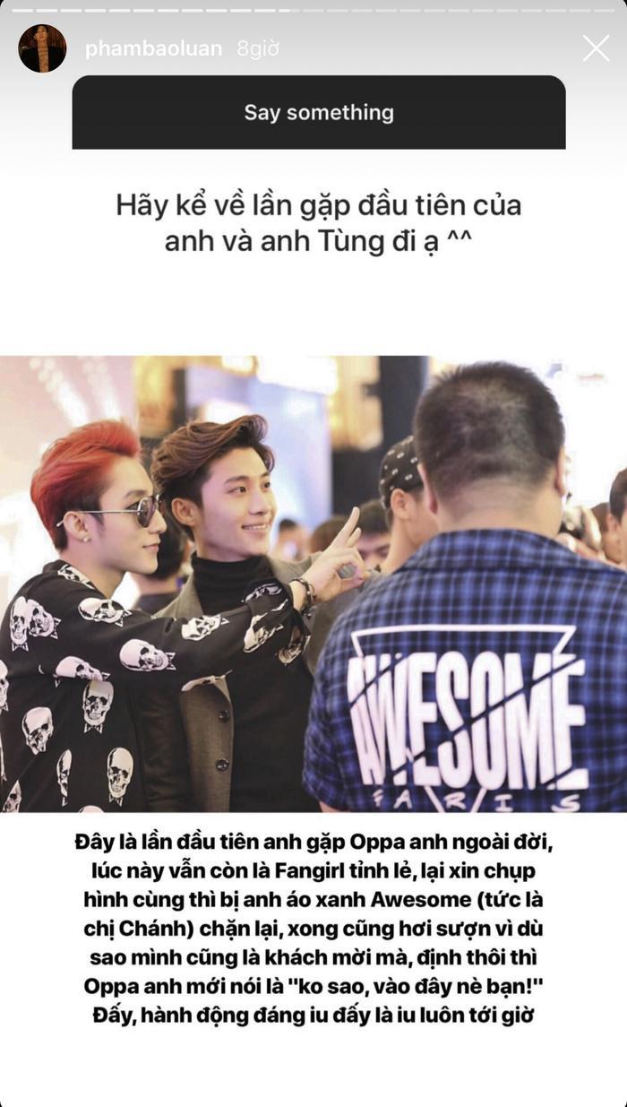 Chia sẻ của stylist Phạm Bảo Luận về lần đầu gặp Sơn Tùng khiến nhiều người hâm mộ thích thú.