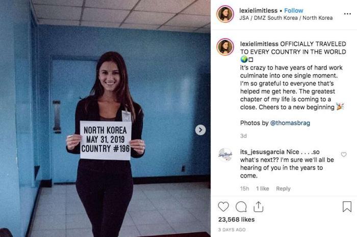 Triều Tiên là quốc gia thứ 196 màLexie Alford đặt chân tới trong chuyến hành trình chinh phục thế giới. Ảnh: Instagram