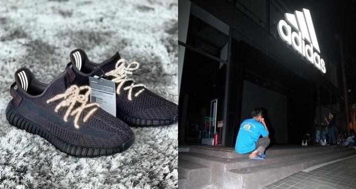 Người cha dù không có nhiều tiền nhưng rất chiều con trai và kiên nhẫn đợi 3 đêm để mua được đôi giày cho con. Ảnh: Taiwan Apple Daily