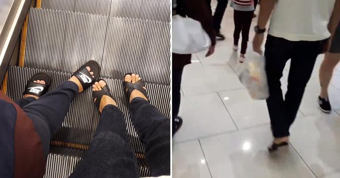 Hình ảnh chàng trai đi giày cao gót khiến nhiều người tò mò.