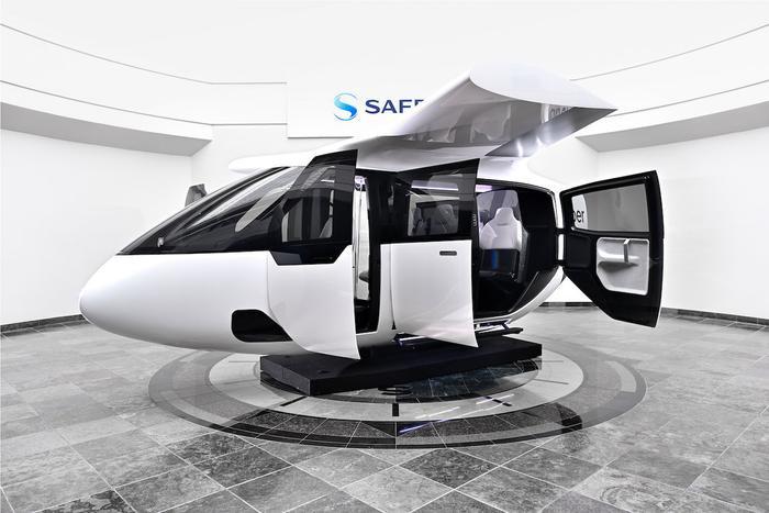 Trong ảnh là bản mô phỏng đầy đủ nội thất của chiếc taxi bay đầu tiên mà Uber Air đã hợp tác với Bipolar Studio để thực hiện