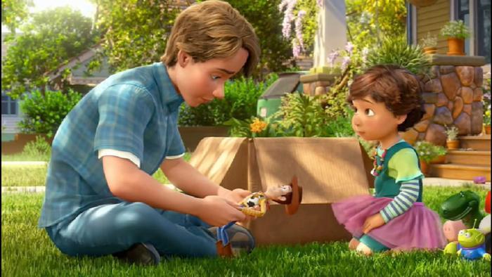 Andy đã tặng hết đồ chơi của mình cho cô bé Bonnie trong phần 3.