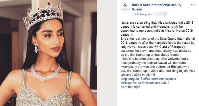 Nhiều fanpage sắc đẹp đưa tinMeenakshi Chaudhary được chọn là Miss Universe India 2019.