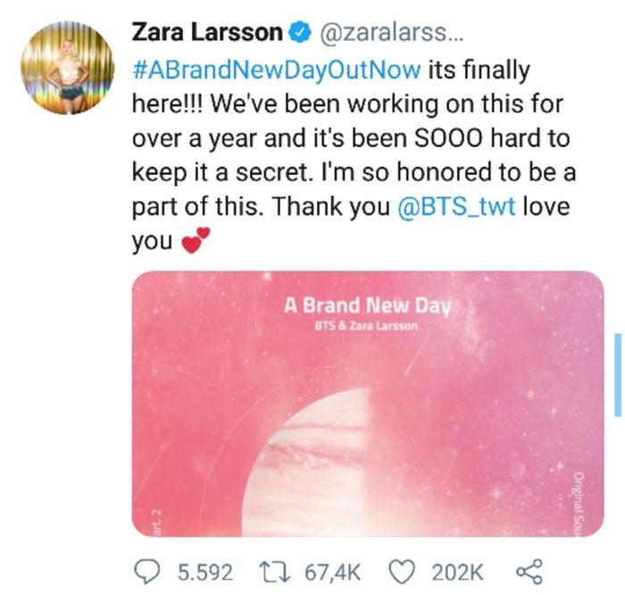 Nữ ca sĩ gửi lời cảm ơn tới những thành viên BTS.