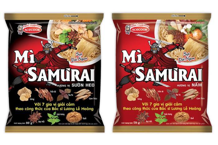 Mì không chiên ăn liền Samưrai, gồm hai hương vị Sườn heo và hương vị Nấm.