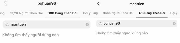 Hiện tại cả Mẫn Tiên và Quang Huân không còn theo dõi nhau trên instagram nữa.