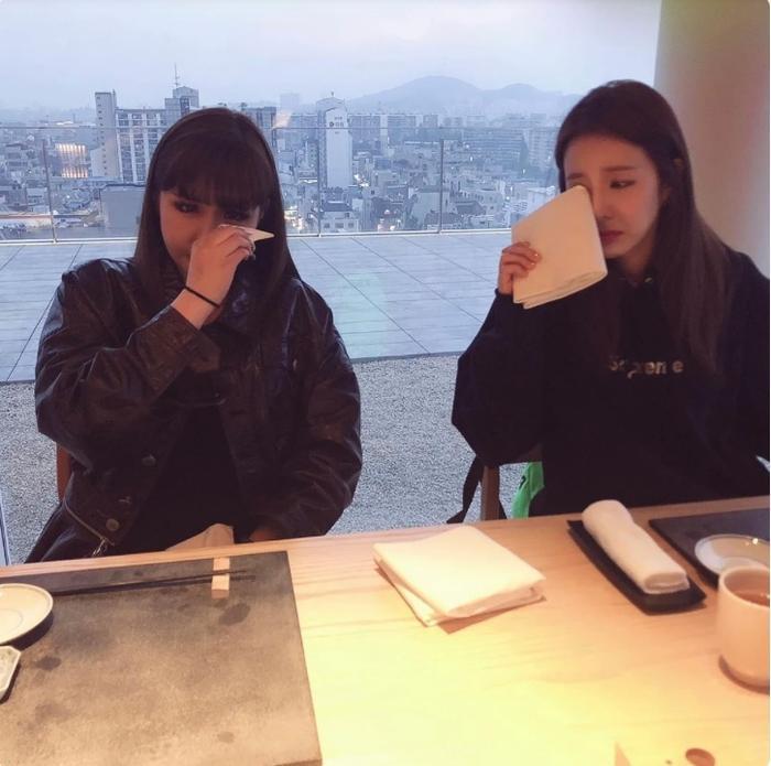 Park Bom và Dara đều không giấu nổi xúc động.