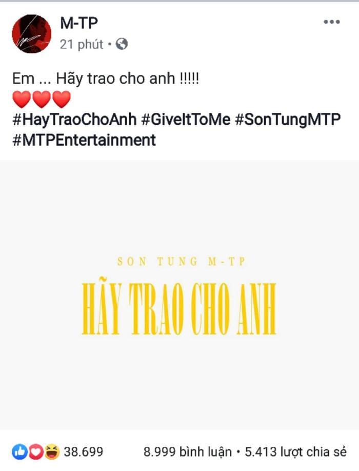 Chia sẻ mới nhất của Sơn Tùng M-TP khiến fan đứng ngồi không yên.