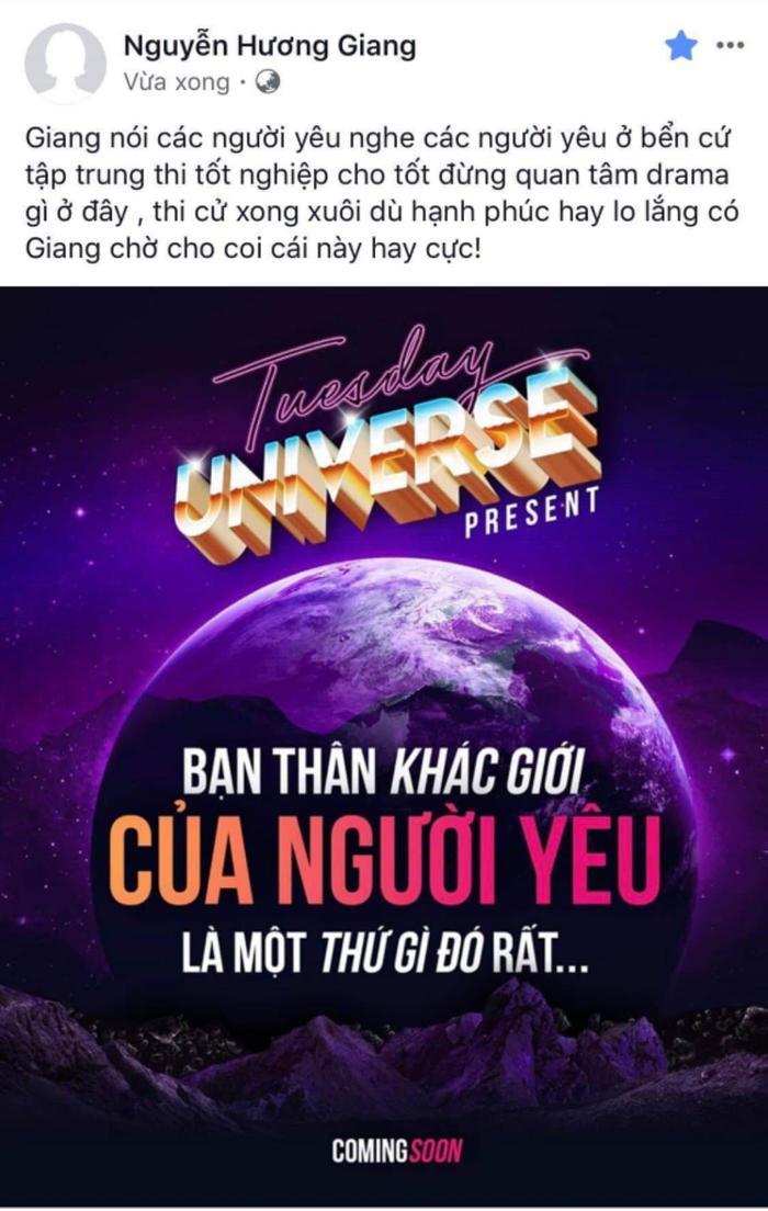 Hương Giang chính thức công bố dự án tiếp theo trong dự án Tuesday Universe.