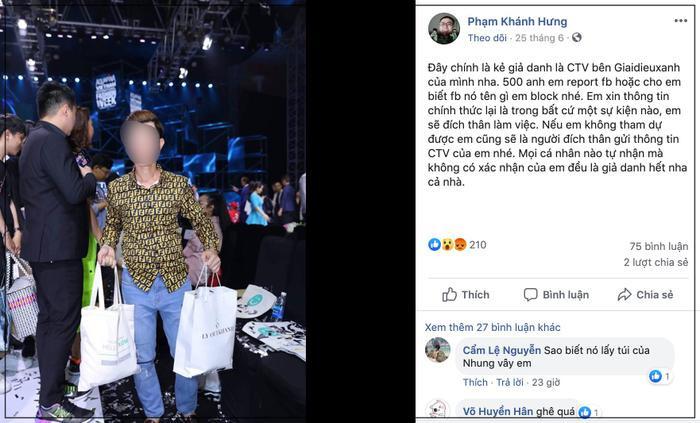 Nhà báo Phạm Khánh Hưng cũng lên tiếng chỉ đích danh thanh niên này là người giả danh CTV để thâm nhập vào các sự kiện.