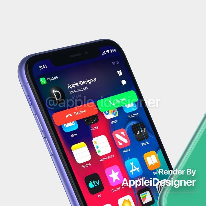 Tác giả đã phác họa luôn giao diện của iOS 13 trên bản concept iPhone 11R của mình để người xem có cái nhìn sát với thực tế nhất về chiếc iPhone giá tốt sắp trình làng vào tháng 9.