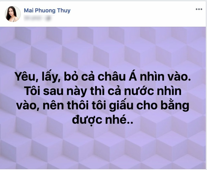 Hoa hậu Mai Phương Thúy lại cảm thấy bất an vì hành trình yêu – cưới nhau và ly hôn của cặp đôi nổi tiếng đều bị xăm soi dữ dội.