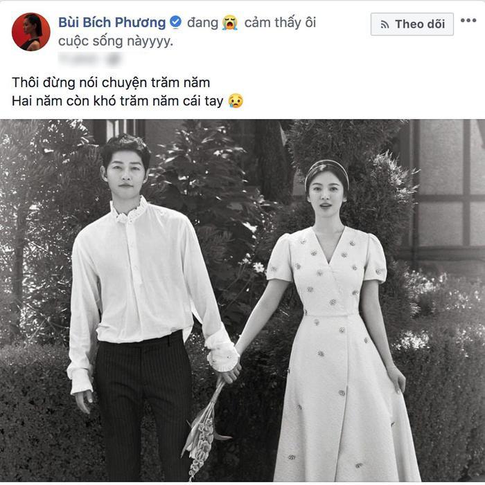 Nữ ca sĩ Bích Phương thì cảm thấy mất niềm tin vào lời hứa trăm năm của cặp đôi Song – Song.