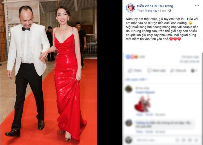 """Cặp vơh chồng Tiến Luật và Thu Trang với góc nhìn của hôn nhân, họ chia sẻ: """"Trên thế giới này vẫn còn nhiều cặp đôi luôn giữ chặt tay nhau. Mọi người đừng mất niềm tin vào tình yêu nhé!""""."""