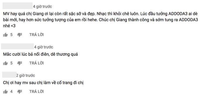 Bên cạnh nhưng bình luận chê thì vẫn có một bộ phận khán giả yêu thích ca khúc này của Hương Giang.
