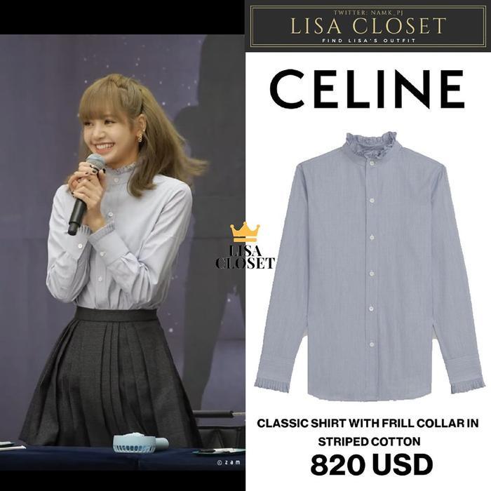 Đầu tiên là chiếc áo dài tay với phần cổ áo và tay áo được thiết kế với những đường diềm cổ điển của CELINE này có giá 820USD (tương đương 19 triệu đồng)
