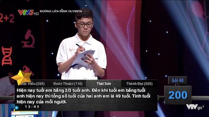 Nội dung của câu hỏi tính tuổi tương đối hóc búa trong chương trình. Ảnh: Huong Pham/Group Trường Người Ta
