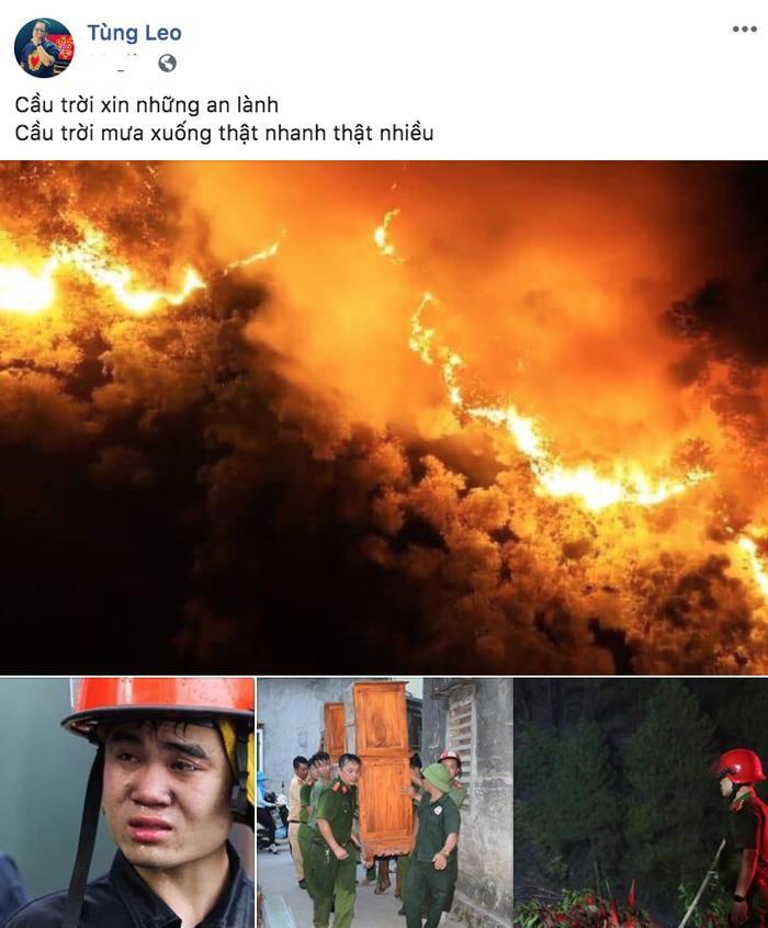 MC Tùng Leo cũng chỉ biết cầu mong mưa xuống để đám cháy được khống chế.