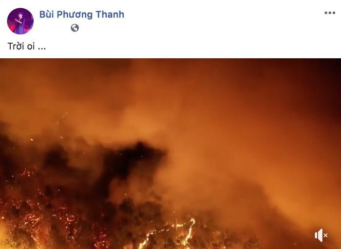 Nữ ca sĩ Phương Thanh xót xa trước sự tàn phá của đám cháy.