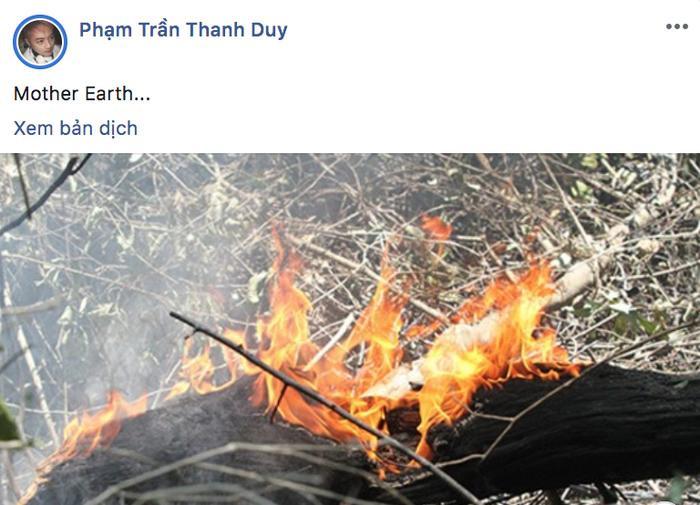 Ca sĩ Thanh Duy cũng nhanh chóng cập nhật tình hình vụ cháy.