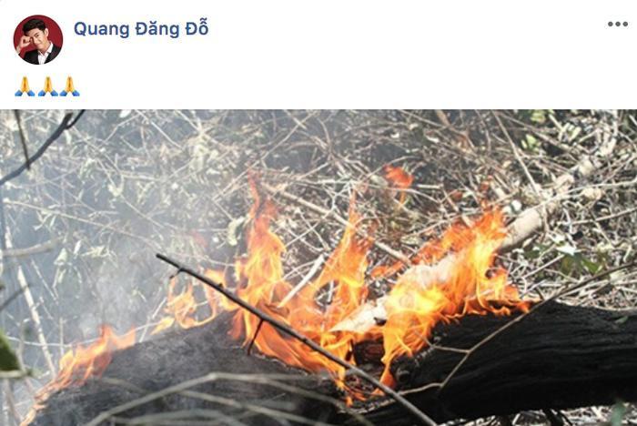 Biên đạo – vũ công Quang Đăng cũng cập nhật tin tức vụ cháy.