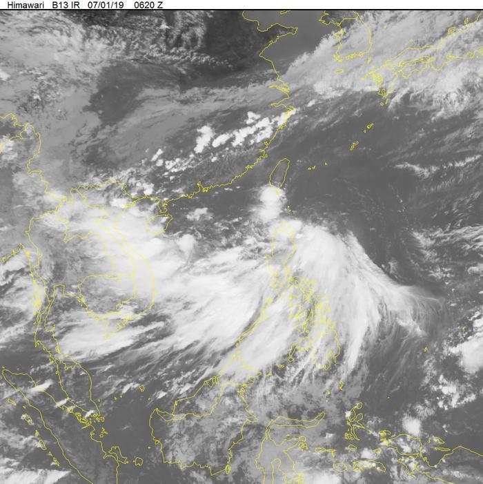 Chiều nay 1/7, áp thấp nhiệt đới xuất hiện trên biển Đông. (Ảnh: Trung tâm dự báo khí tượng thủy văn quốc gia).
