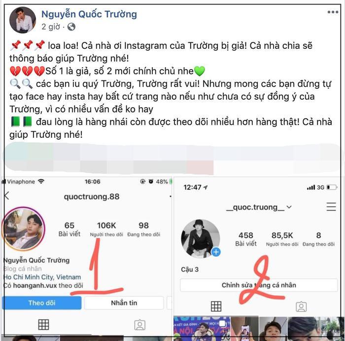 Nhọ như Quốc Trường: Bị giả mạo Instagram nhưng followers hàng fake lại cao hơn cả hàng chính chủ ảnh 1