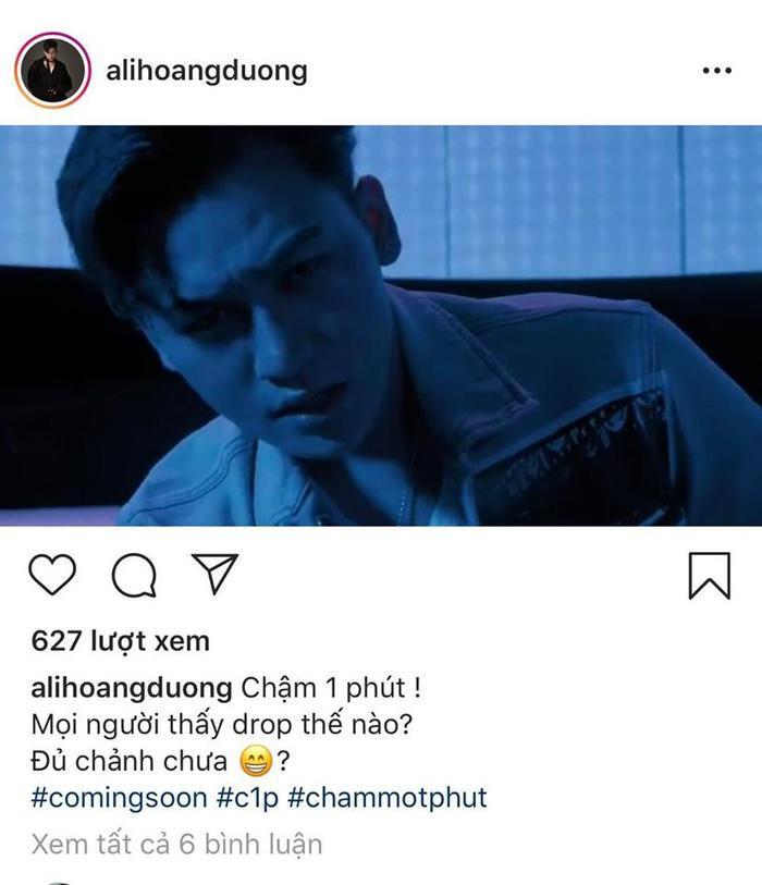 Dòng trạng thái #comingsoon hé lộ việc chuẩn bị lên sóng MV Chậm một phút của Ali Hoàng Dương.