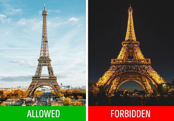 Tháp Eiffel, Paris, Pháp: Khi về đêm, tháp Eiffel sẽ trở nên rực rỡ hơn bao giờ hết khi được thắp sáng đèn. Điều này sẽ thôi thúc chúng ta ghi lại khoảng khắc này bằng máy ảnh. Tuy nhiên, nếu bạn muốn chụp ảnh tháp Eiffel vào buổi tối, bạn cần suy nghĩ cho cẩn thận, bởi những hình ảnh và video ghi lại tháp Eiffel vào buổi tối đều được bảo vệ theo pháp luật. Theo La Société d'Exploites de la Tour Eiffel (SETE)– đơn vị quản lý công trình biểu tượng của Paris, bất kỳ ai muốn đăng tải một tấm ảnh tháp Eiffel vào buổi tối đều phải xin phép, trả tiền bản quyền và ghi chính xác tên người nghệ sĩ. Nếu không, họ có nguy cơ bị phạt.