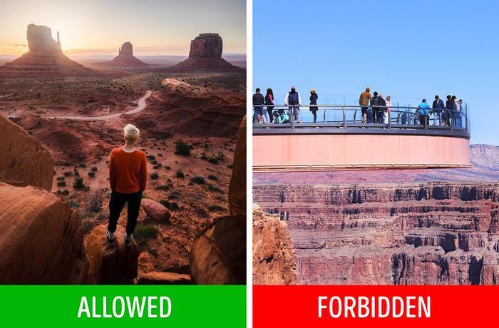 Bên trên cầu thuỷ tinh ở thắng cảnh Grand Canyon,Arizona, Mỹ:Grand Canyon là mộttrong những hẻm núi sâu nhất thế giới nhưng lại thu hút nhiều khách du lịch, với hơn 4 triệu lượt ghé thăm mỗi năm. Khi đến đây, khách du lịch có thể chiêm ngưỡng thắng cảnh hùng vĩ từ cây cầu thủy tinh Grand Canyon Skywalk. Tuy nhiên, bạn không thể chụp ảnh tại đây. Ngoài ra, bạn sẽ phải mang một tấm bọc giày đặc biệt để bảo vệ kính khỏi trầy xước.