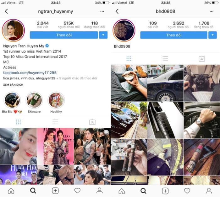 Huyền My và Bảo Hưng không còn theo dõi nhau trên Instagram.