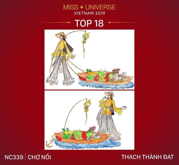 """Bản vẽ có phần mộc mạc """"Chợ Nổi"""" được chọn vì ý tưởng độc đáo: Ghe trái cây sẽ được kéo trên sân khấu Miss Universe 2019?"""