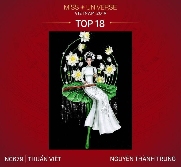 Thiết kế Thuần Việt thể hiện hình ảnh cô gái Việt Nam mặc áo dài ngồi trên lá sen khi người mặc sải bước trên sân khấu.