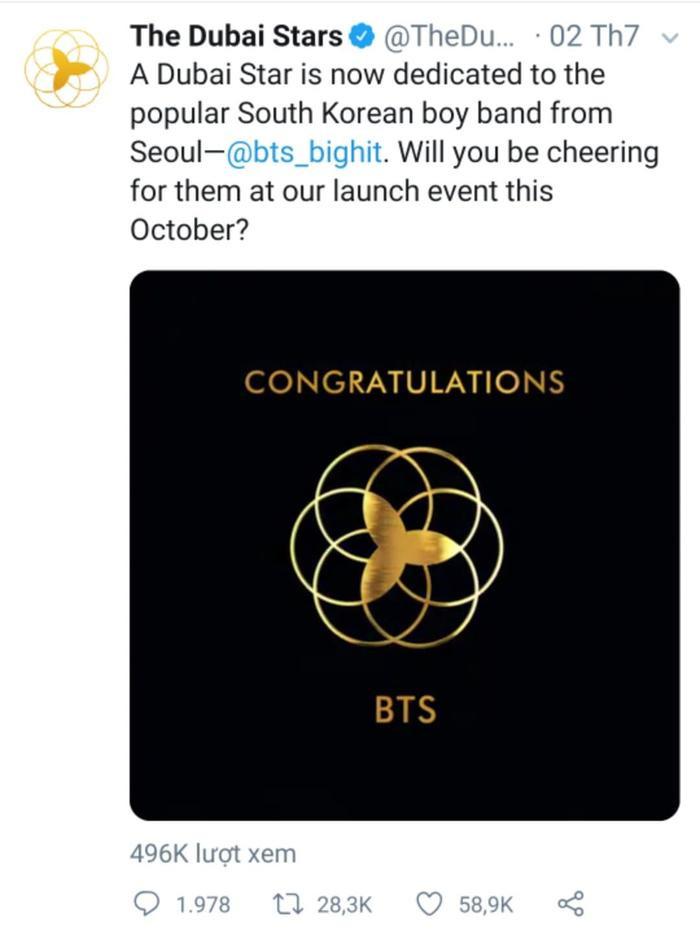 BTS cũng xuất hiện trên tài khoản chính thức của Đại lộ danh vọng Dubai.