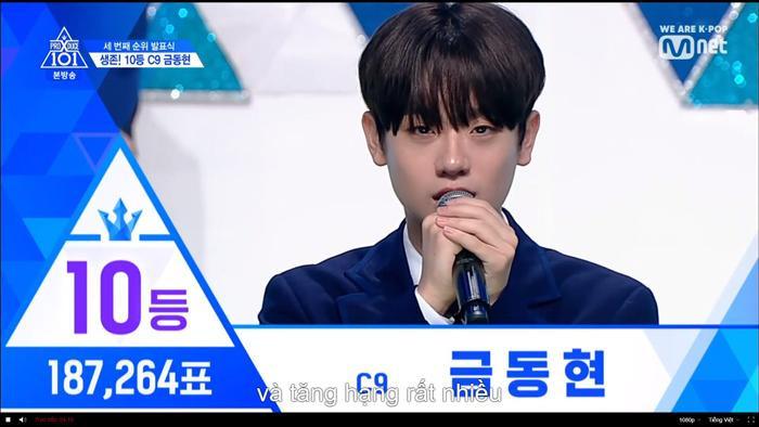 Hạng 10 sẽ có 187,264 vạn phiếu, và đó chính là Keum Donghyun nhà C9.