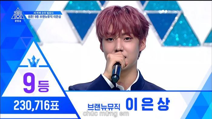 Hạng 9 với 230716 vạn phiếu, Lee Eunsang đã đạt hạng 9.