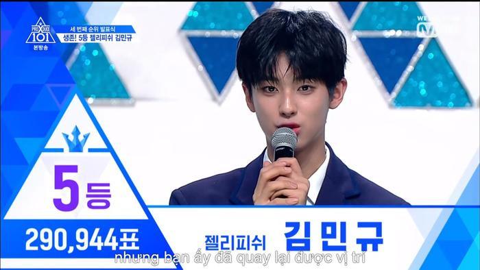 Vời 290944 vạn phiếu, hạng 5 đã thuộc về Kim Mingyu.